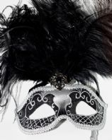 Black and Silver Feather Mask on Stick